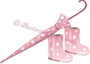 閉じたピンクの傘と長靴のイラスト