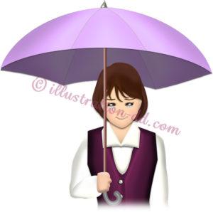 泣きながら傘をさす女性のイラスト