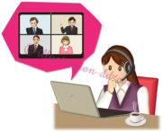自宅でウェブ会議の女性のイラスト