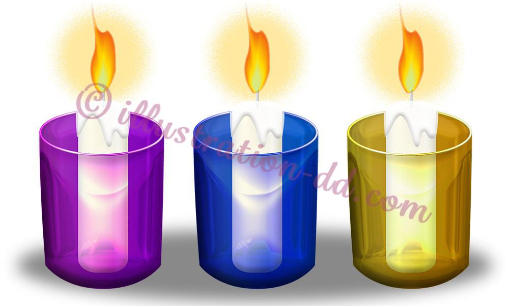 3色ガラスのキャンドルのイラスト