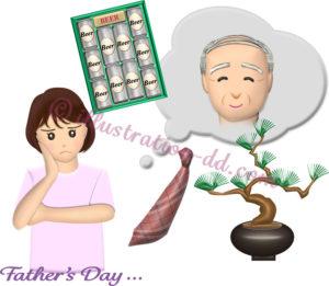 高齢父へのプレゼントに悩む女性のイラスト