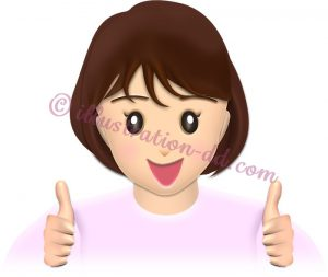 両手で「good」サインする女性のイラスト・表情1