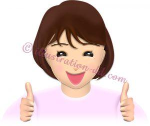 両手で「good」サインする女性のイラスト・表情2