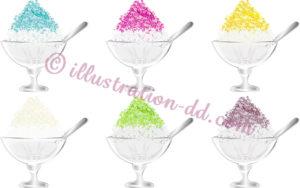 デザートグラスのカキ氷6種類のイラスト