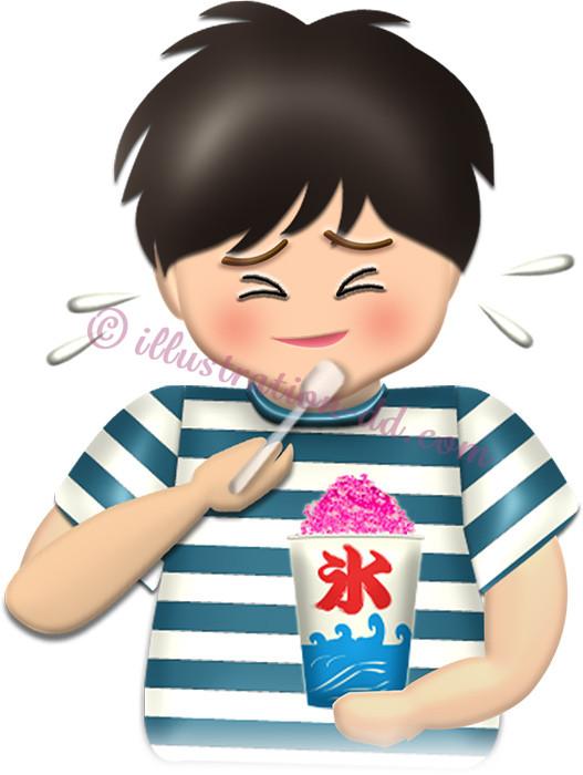 かき氷を食べる男の子のイラスト