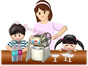 かき氷を作る親子のイラスト