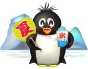 カキ氷と団扇を持つペンギンのイラスト