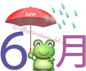 6月のタイトル(傘をさす蛙)のイラスト