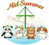 夏至祭(ミッドサマー)の動物キャラのイラスト
