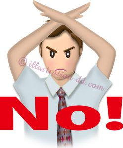 「NO!」を意思表示するビジネスマンのイラスト