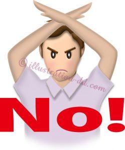 「NO!」を意思表示する男性のイラスト