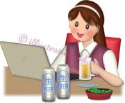 ビールでオンライン飲み会する女性のイラスト