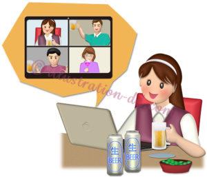 ビールとつまみでオンライン飲み会する女性のイラスト