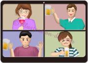 オンライン飲み会の分割画面のイラスト