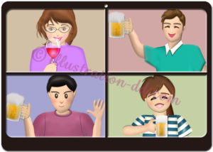 オンライン飲み会のPC分割画面のイラスト