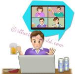 ビールとつまみでオンライン飲み会する男性のイラスト