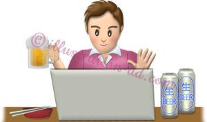 オンライン飲み会するビジネスマンのイラスト