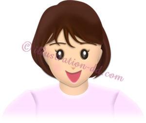 笑顔の可愛い女性・正面A-1のイラスト