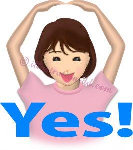 「YES!」を意思表示する女性のイラスト