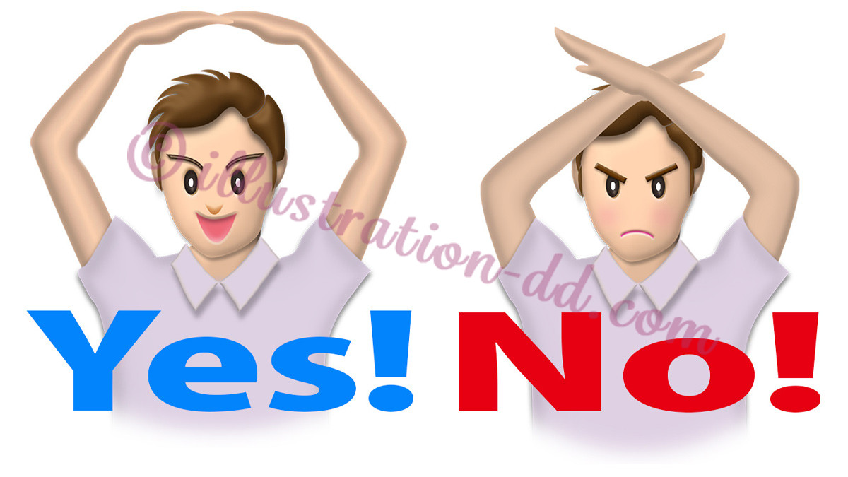 「YES!」「NO!」を意思表示する男性のイラスト