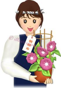 朝顔市の女性の売り子さんのイラスト