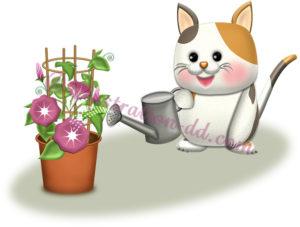 朝顔に水やりする可愛い猫のイラスト