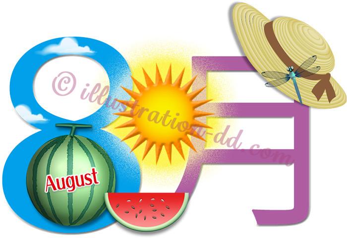 8月のタイトル(西瓜と帽子)のイラスト