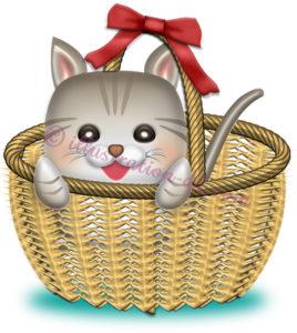 バスケットに入った子猫のイラスト
