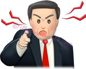 指を差して怒る上司のイラスト