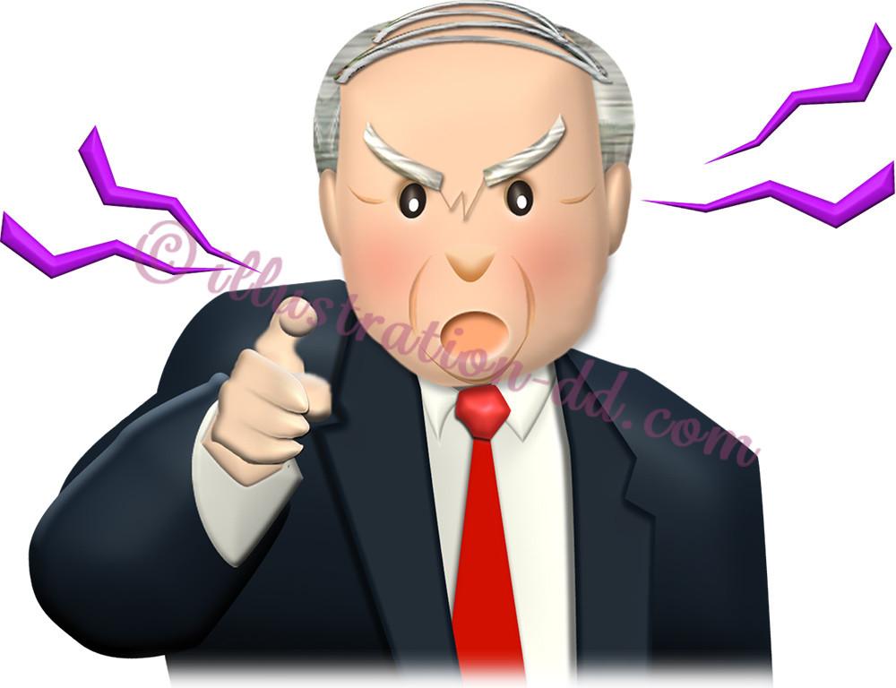 指を差して怒る社長のイラスト