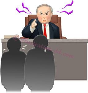 社員たちを怒り飛ばすワンマン社長のイラスト