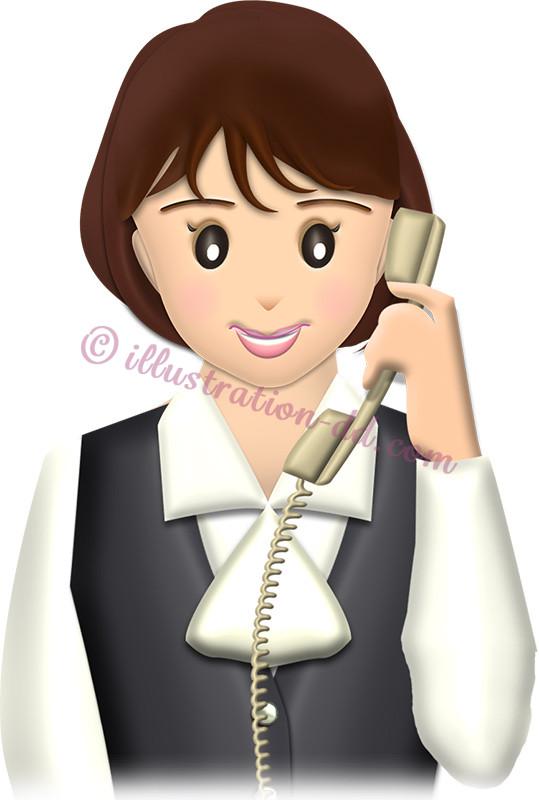電話している女性社員・普通顔のイラスト