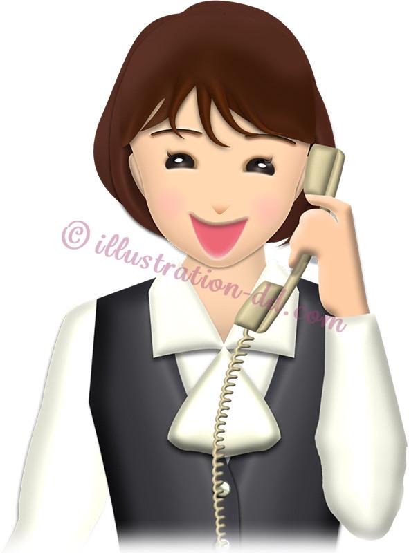 笑顔で電話するOLのイラスト