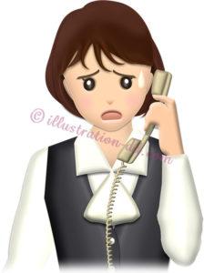 電話対応で困っているOLのイラスト