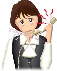 うるさい電話にうんざりしてるOLのイラスト