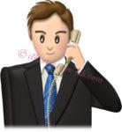 電話する男性社員・普通顔のイラスト