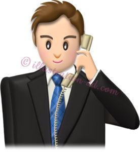 電話するビジネスマン・普通顔のイラスト
