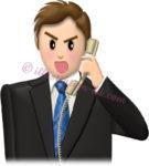 怒って電話する男性社員のイラスト