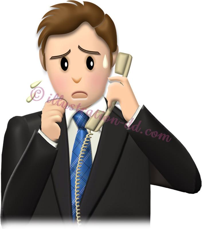 電話対応が苦手な男性社員のイラスト