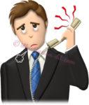 うるさい電話にゲンナリしてる男性社員のイラスト