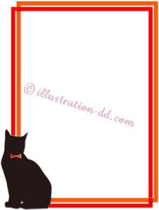 猫シルエットの枠イラスト