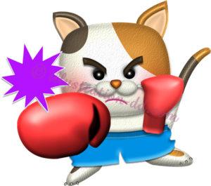パンチするボクサー猫のイラスト