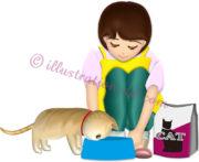 猫に餌をあげる女性のイラスト