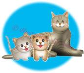トラ猫の親子のイラスト