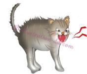 毛を逆立てて威嚇する猫のイラスト