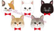 猫の顔リボン付きアイコン5種のイラスト