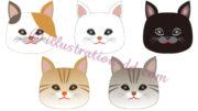 猫の顔アイコン5種のイラスト