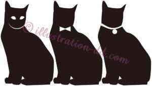 お座り猫のシルエット3種のイラスト