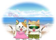 海辺リゾートの猫カップルのイラスト
