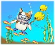 海でダイビングする猫のイラスト